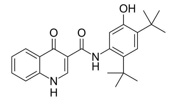 Chemical structure of kalydeco (ivacaftor). Image courtesy of Ed (Edgar181).