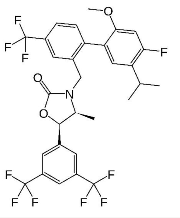 Chemical structure of anacetrapib. Image courtesy of Fvasconcellos.