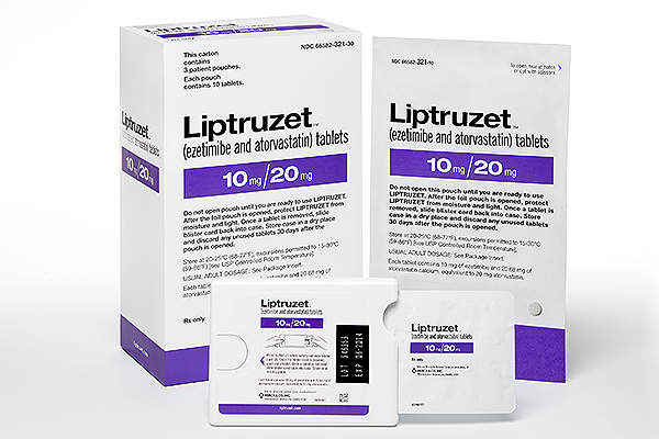 Liptruzet is a combination drug made containing ezetimibe and atorvastatin.