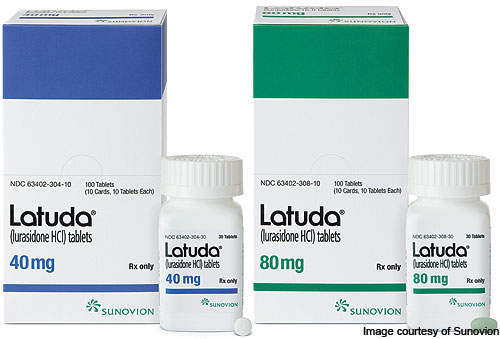 Latuda is slightly soluble in water and each tablet contains about 40 mg, or 80 mg of lurasidone hydrochloride