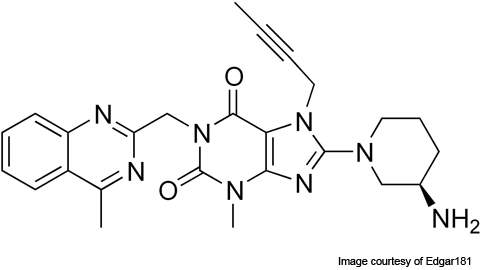 Linagliptin (BI-1356) is an oral DPP-4 inhibitor drug for the treatment of type-II diabetes.