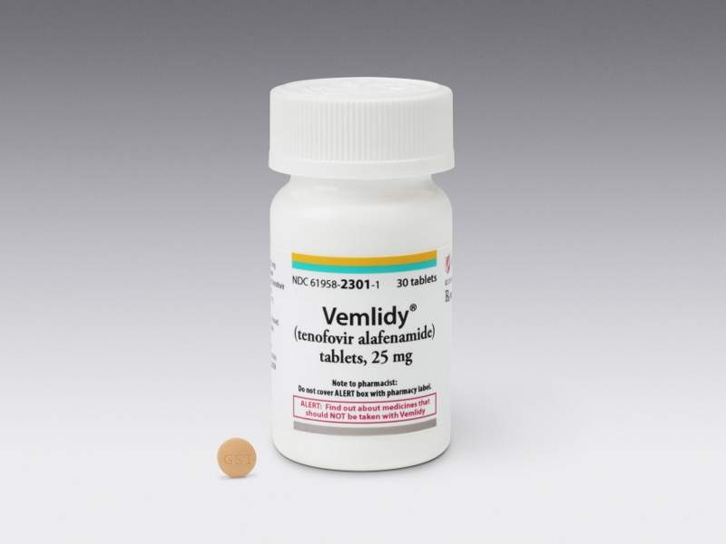 Vemlidy (tenofovir alafenamide) is indicated for the treatment of hepatitis B virus (HBV) infection. Image courtesy of Gilead Sciences.