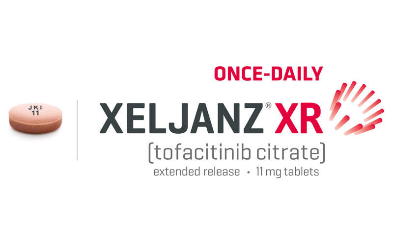 Xeljanz XR (tofacitinib citrate) is an 11mg once-daily oral JAK inhibitor. Image courtesy of Pfizer Inc.