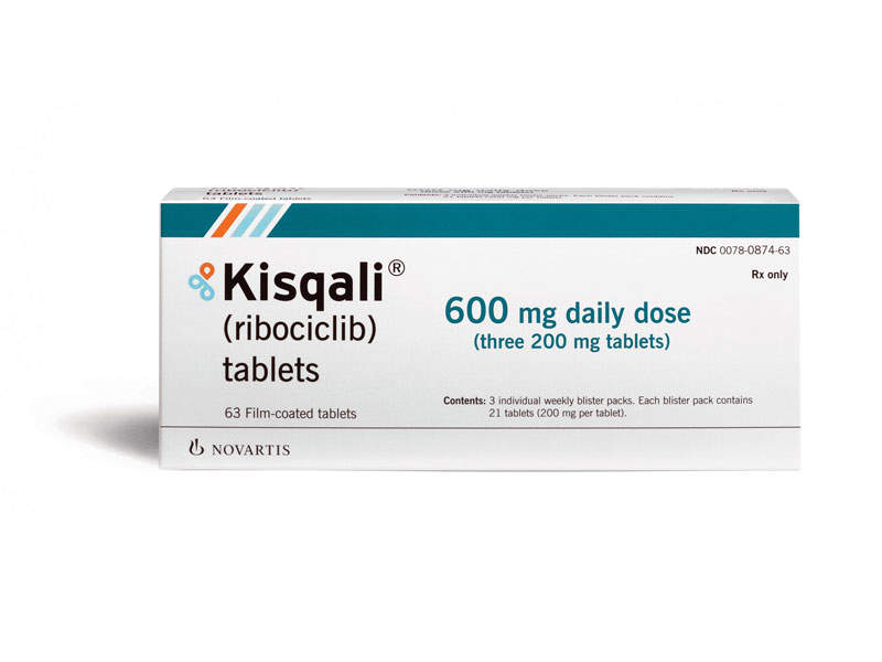 Kisqali is indicated for the treatment of hormone receptor positive, human epidermal growth factor receptor-2 negative breast cancer in post-menopausal women. Image courtesy of Novartis.
