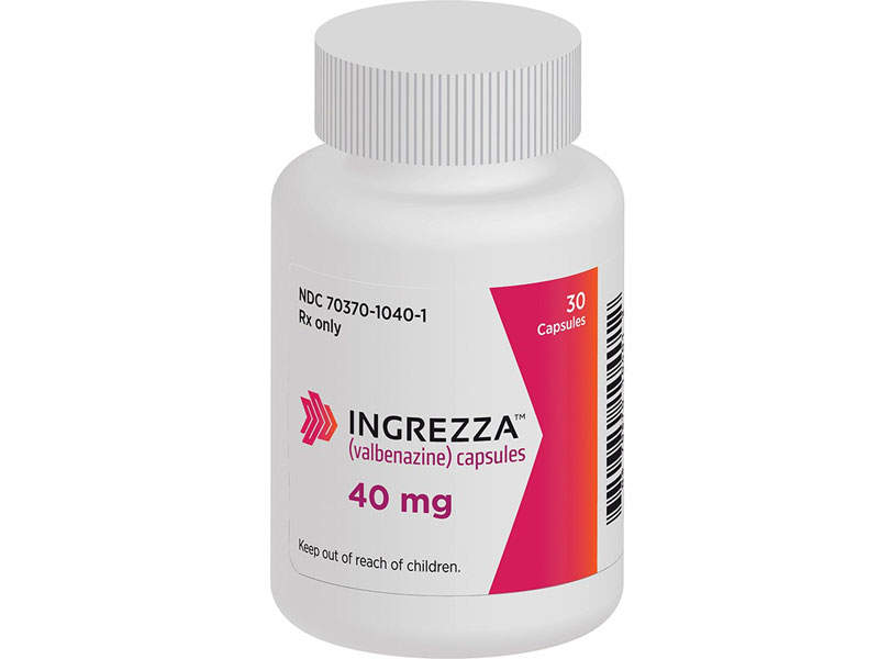 Ingrezza is the first and only FDA-approved drug indicated for the treatment of adults with Tardive dyskinesia. Image courtesy of Neurocrine Biosciences.