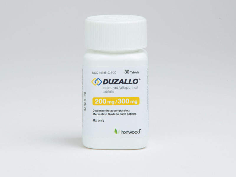 Duzallo is available in 200mg/300mg dose tablets for oral administration. Image courtesy of Ironwood Pharmaceuticals.