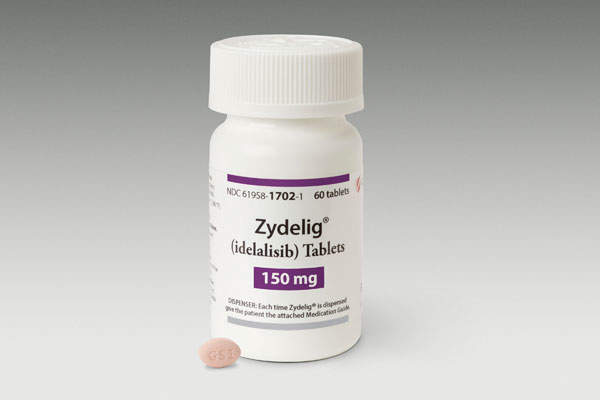 Zydelig (idelalisib) is an FDA-approved drug indicated for the treatment of three B-cell blood cancers. Image courtesy of Gilead Sciences.