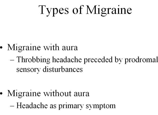 Patients with migraine can experience acute attacks in which the throbbing headache is preceded by a prodromal phase (migraine with aura) or occurs in the absence of a prodromal phase (migraine without aura). Attacks typically last 4-72 hours.