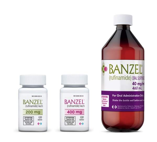 Banzel is available in the form of 200mg and 400mg tablets as well as an orange flavoured oral suspension. Image courtesy of Eisai Pharmaceuticals.