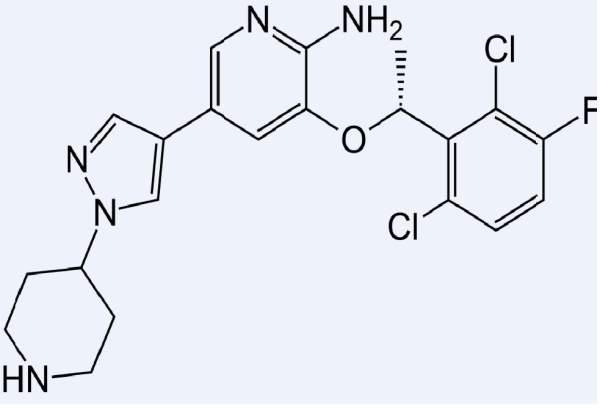 The skeletal formula of Crizotinib. Image of courtesy of Fvasconcellos.