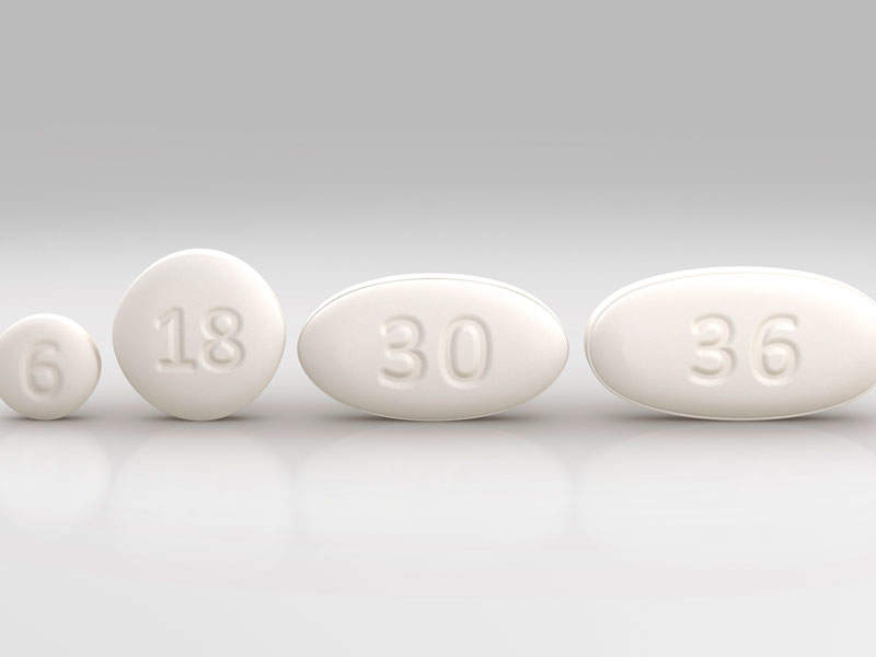 The drug is available in 6mg, 18mg, 30mg, and 86mg tablet doses for oral administration. Image courtesy of Marathon Pharmaceuticals.