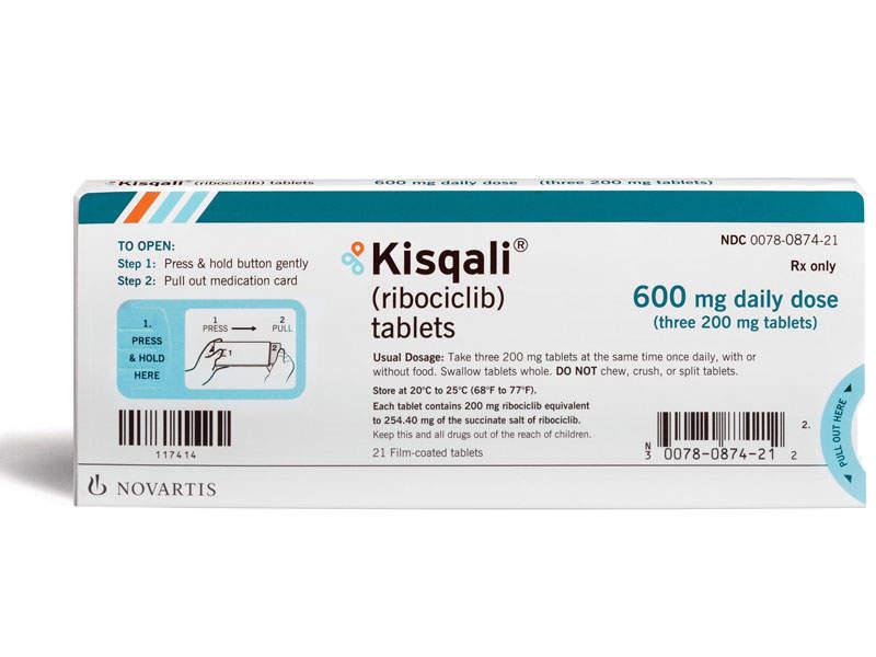 Kisqali contains cyclin-dependent kinase inhibitor. Image courtesy of Novartis.