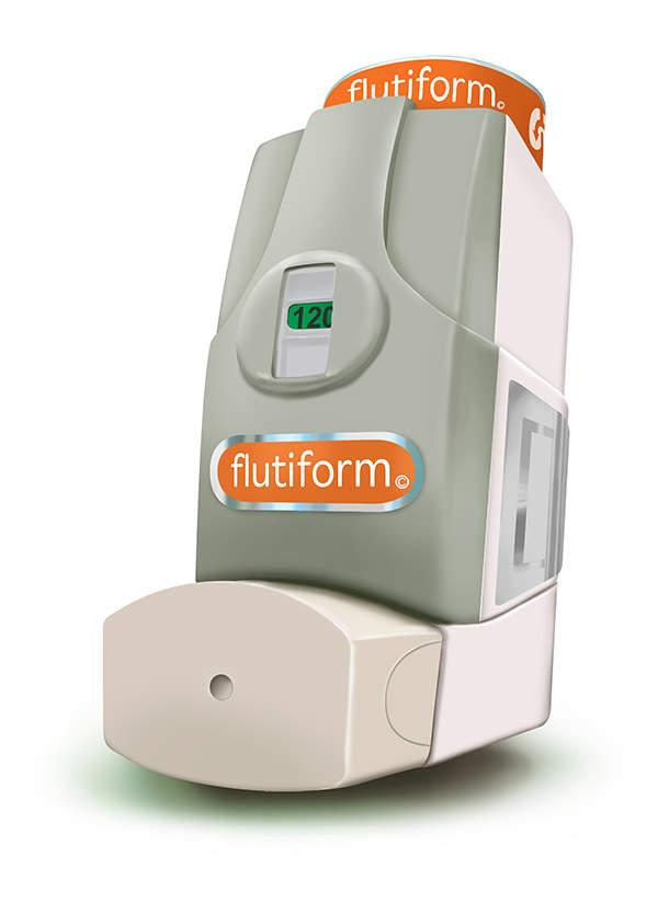 Flutiform is available in aerosol inhaler form. Image courtesy of Skye Pharma.