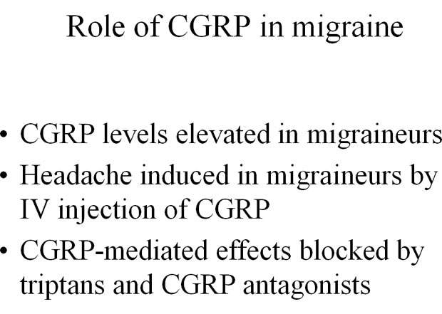 There is evidence to suggest that CGRP plays a pivotal role in the pathophysiology of migraine.