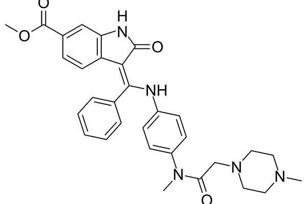 Tyrosine kinase inhibitor (TKI) Nintedanib is the active ingredient of Ofev. Image: courtesy of Ed (Edgar181), Wikimedia Commons.