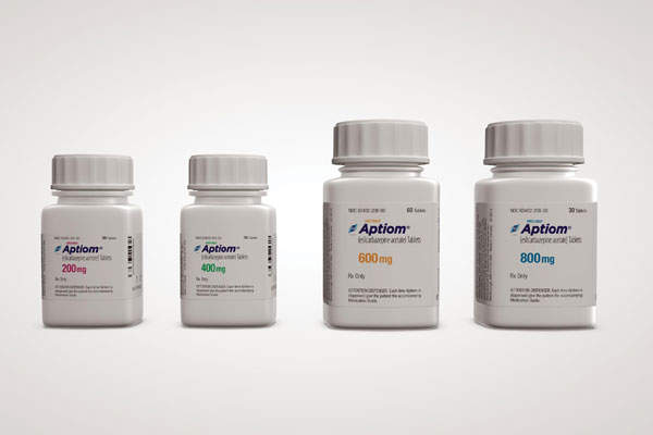 Aptiom is available in tablets of four different doses for oral administration. Image courtesy of Sunovion.