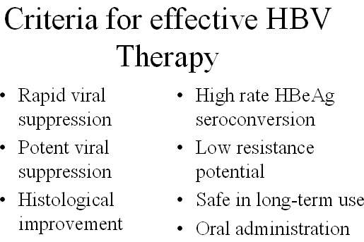 Drugs for the treatment of chronic HBV should meet a number of ideal criteria, including rapid and profound viral suppression.