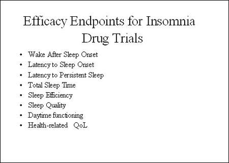 There are a number of endpoints that can be used to assess the efficacy of drugs for insomnia some of which are sleep-specific outcome measures while others are designed to assess treatment impact on patient well-being.