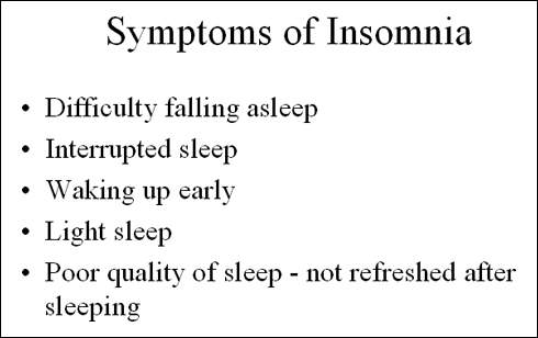 Characteristic symptoms of insomnia, which can become chronic if left untreated.