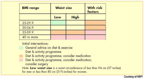Initial weight loss interventions, based on BMI and waist circumference, recommended in the National Institute for Clinical Excellence (NICE) guidelines.