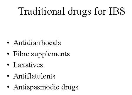 Examples of drugs traditionally used in the treatment of IBS.