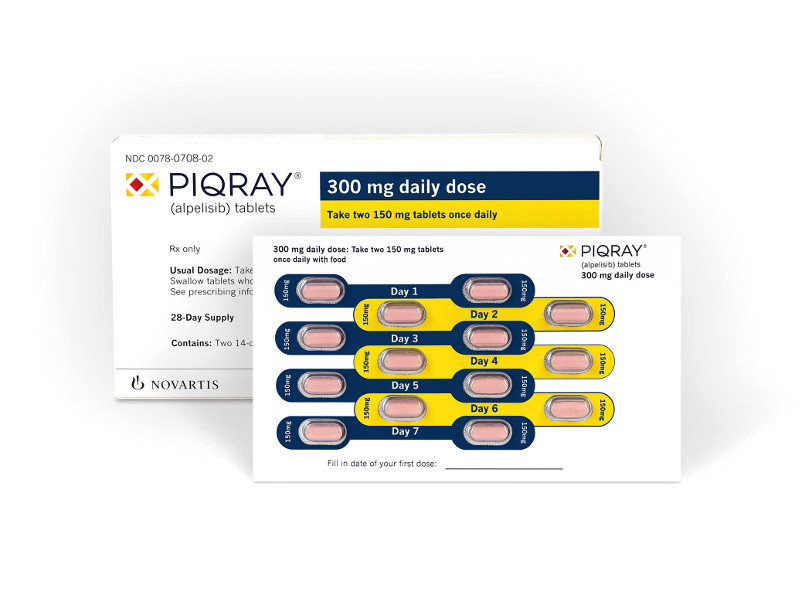 Piqray® is a kinase inhibitor indicated to treat HR-positive or HER2-negative, PIK3CA-mutated advanced breast cancer. Image courtesy of Novartis Pharmaceuticals Corporation.
