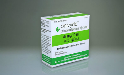Onivyde is an intravenous injection approved for the treatment of metastatic pancreatic cancer.
